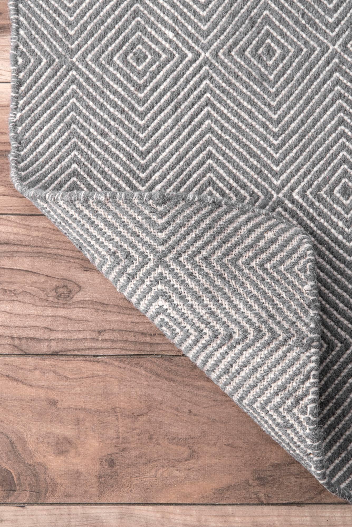 nuLOOM Handmade Fancy Trellis Wool Paddle Runner Area Rugs, 2' 6'' x 8', Grey by nuLOOM (Image #5)