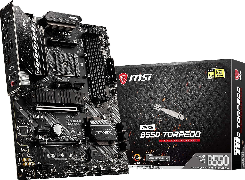 MSI MAG B550 Torpedo Gaming Motherboard (AMD AM4, DDR4, PCIe 4.0, SATA 6Gb/s, Dual M.2, USB 3.2 Gen 2, HDMI/DP, ATX, AMD Ryzen 5000 Series Processors)