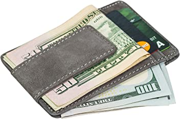 Mens Genuine Leather Slim Minimalist Magnet Money Clip And Credit Card Holder/Wallet; Grey