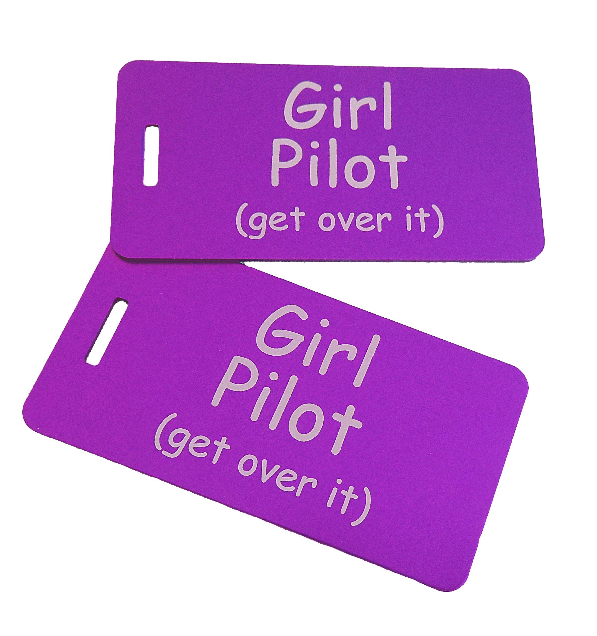 Girl Pilot Bag Tag Set of Two (Purple)