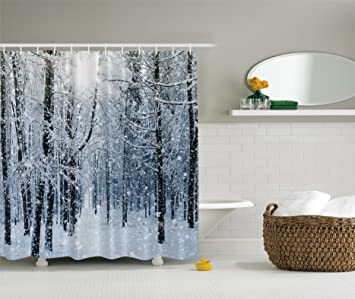 Amazon.com: Forest Shower Curtain by Ambesonne, Winter Snow on ...