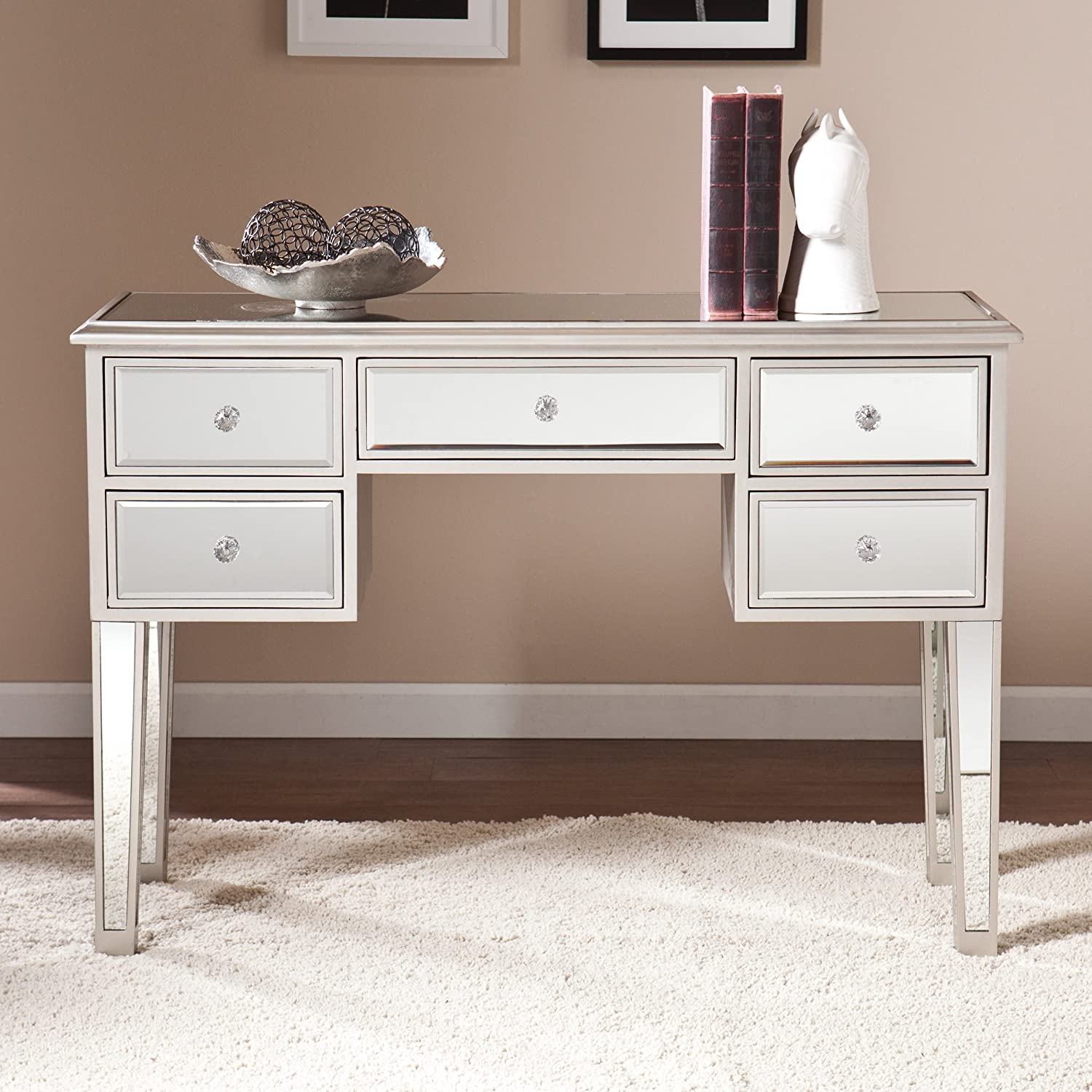 Amazon.com: Southern Enterprises Mirage Mirrored Console Table In Silver:  Kitchen U0026 Dining