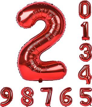 Amazon.com: Globo de helio de 40 pulgadas, números rojos 0 ...