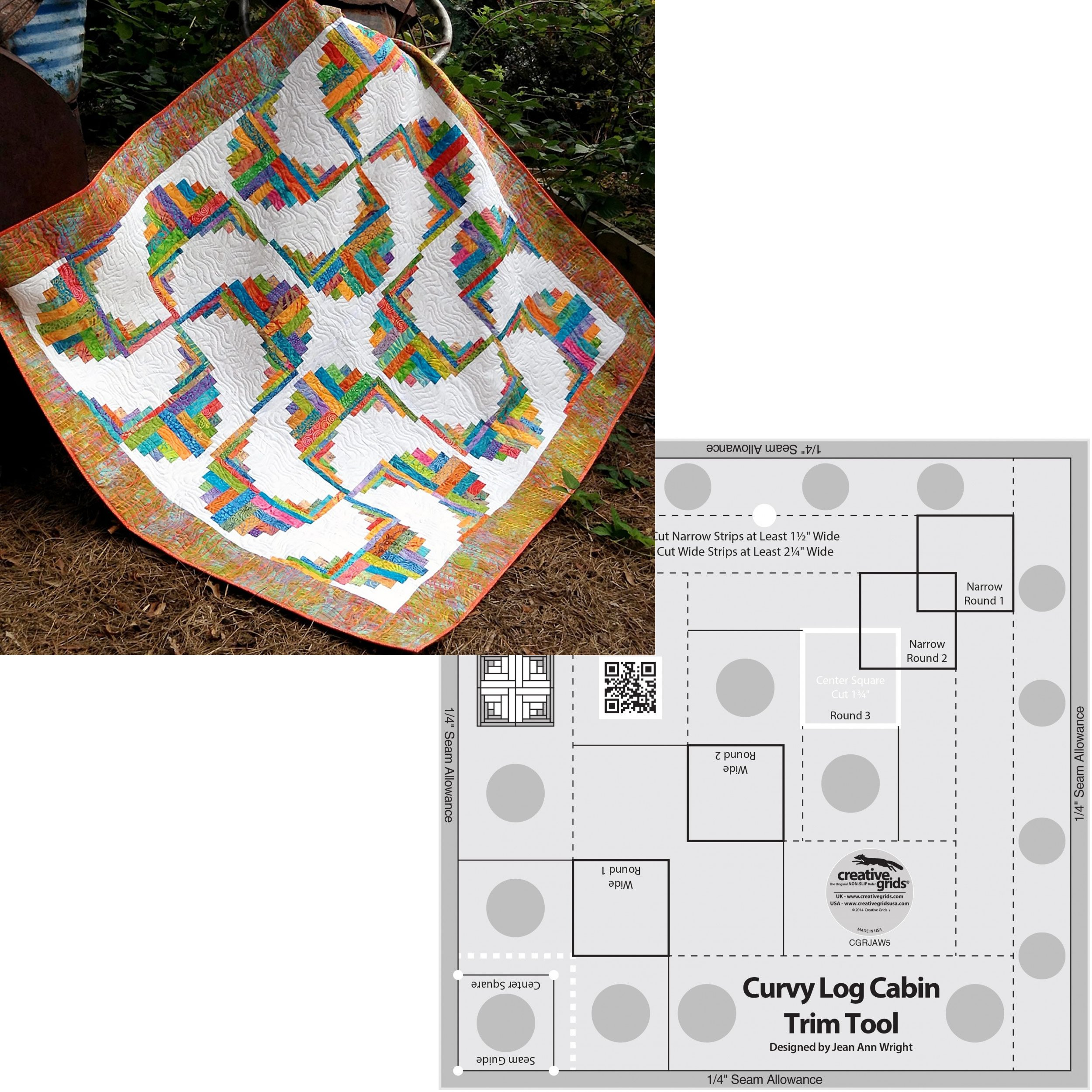 Bundle of Creative Grids Curvy Log Cabin Trim Tool 8in Finished Blocks and Cut Loose Press Rainbow Swirls Curvy Log Cabin Quilt Pattern by Creative Grids USA, and Cut Loose Press