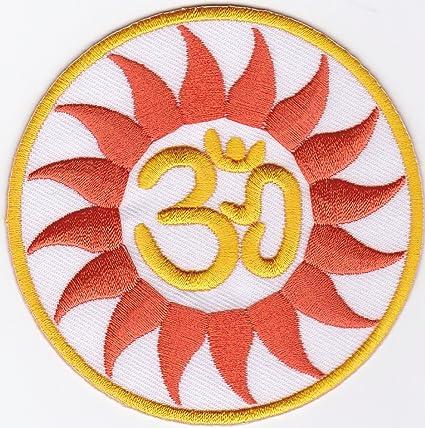 Hierro en parche Sew en bordado aplicación Om Aum símbolo ...