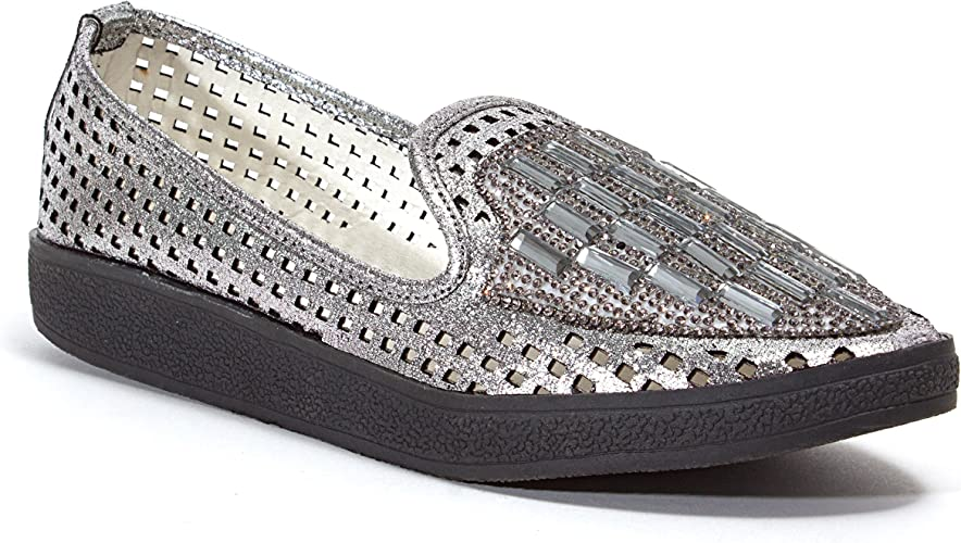 Lady Couture Women/'s Fever Stone Slip On Fashion Flat Shoes Silver