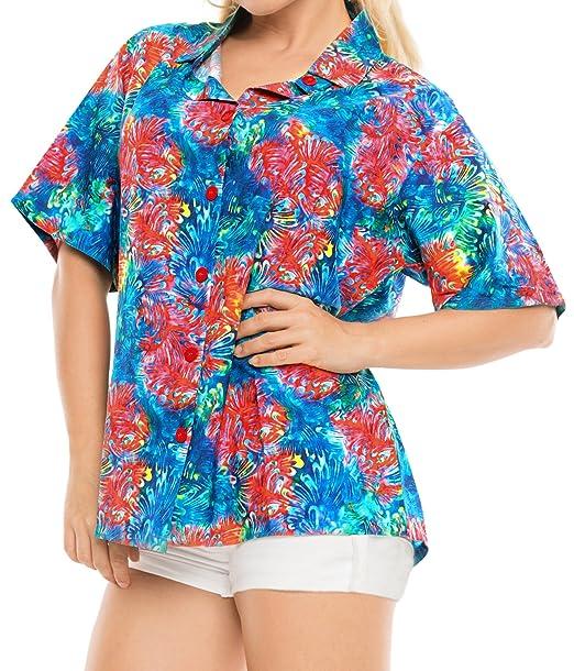 *La Leela* Hawaiano Botón de la Camisa Blusas Mujeres aptas Abajo relajados Mangas Cortas