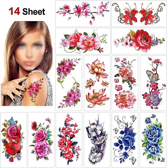 Konsait 14 hojas temporales tatuajes para adultos mujer niños ...