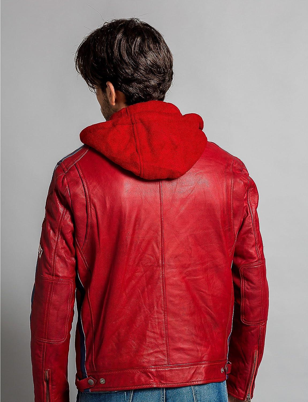 Urban Leather 58 GENTS Giacca Moto Uomo in Pelle con Protezioni Per Schiena Spalle e Gomiti Omologate CE