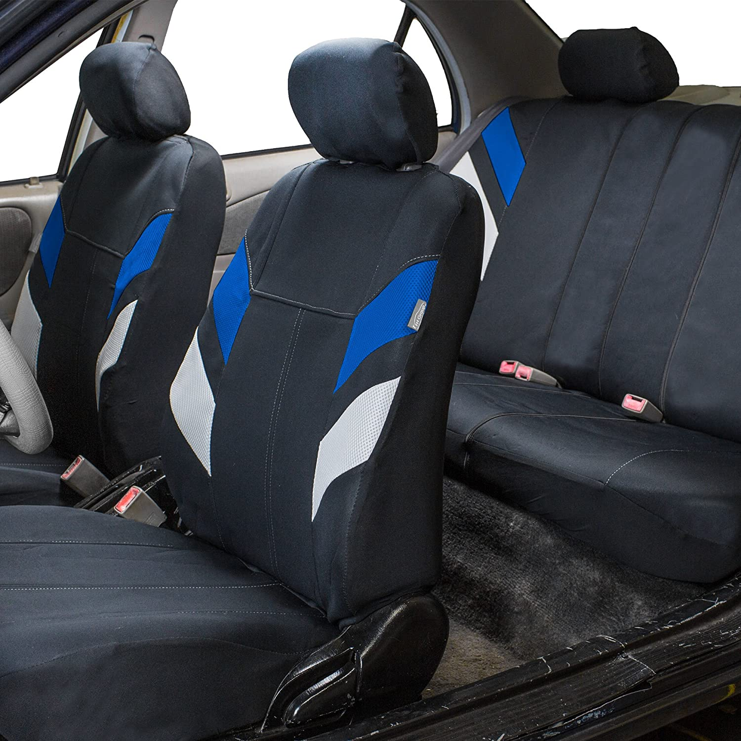 Airbag Compatible Set of 2 FH Group FB060BLACK102 Black Deluxe 3D Air Mesh Front Seat Cover