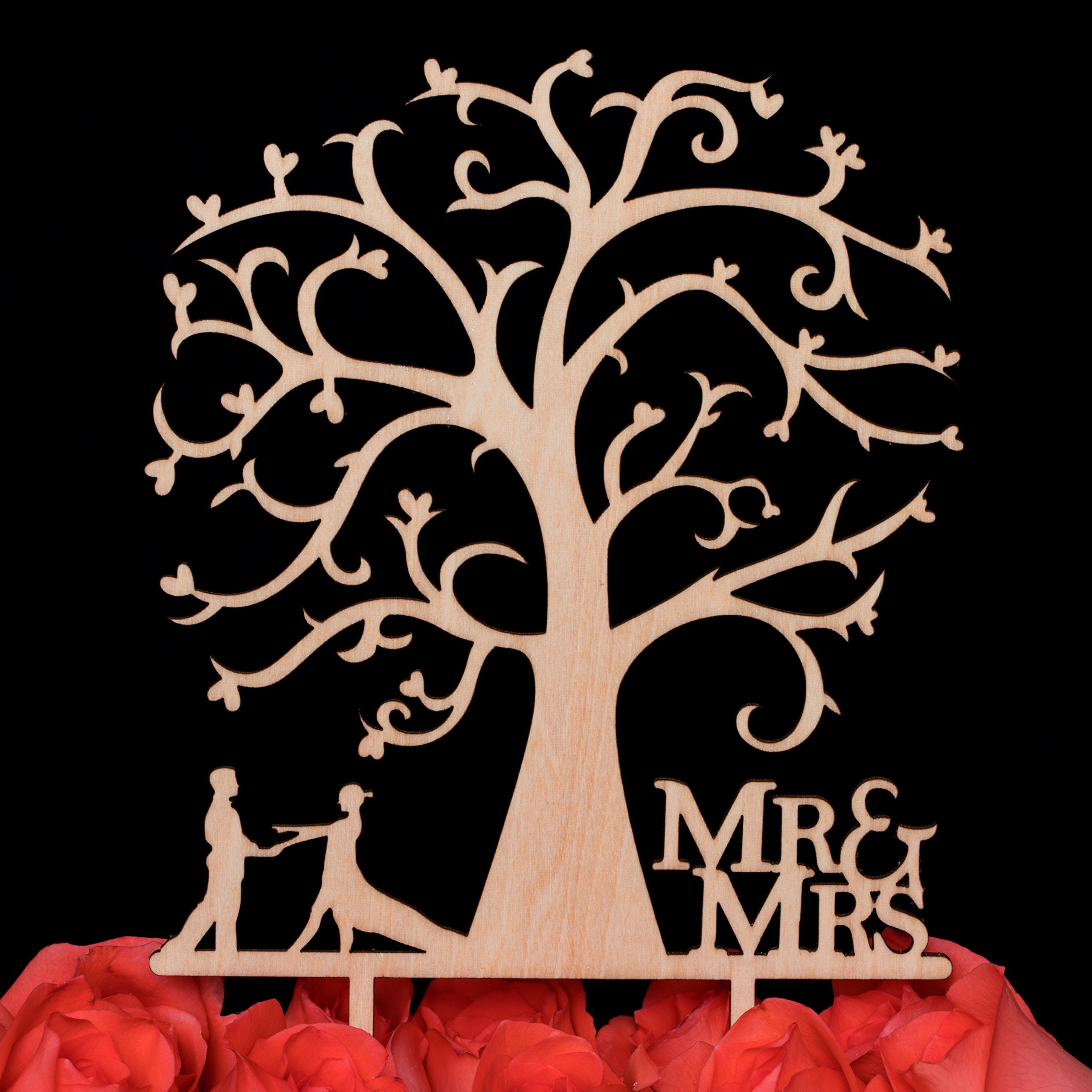 LOVENJOY Gift Box Pack Mr and Mrs Dancing Bride and Groom Tree Silhouette Rustic