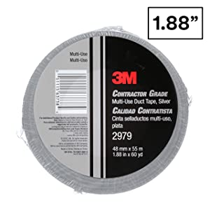 3M 2979 Contractor Grade Multi-Use Duct Tape, Silver, 1.88 in x 60 yd – Professional Multipurpose Adhesive, 1 Pack