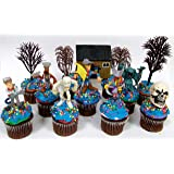 SCOOBY DOO Birthday Cupcake Topper Set Featuring RANDOM Scooby Doo Figures and Decorative Themed Accessories
