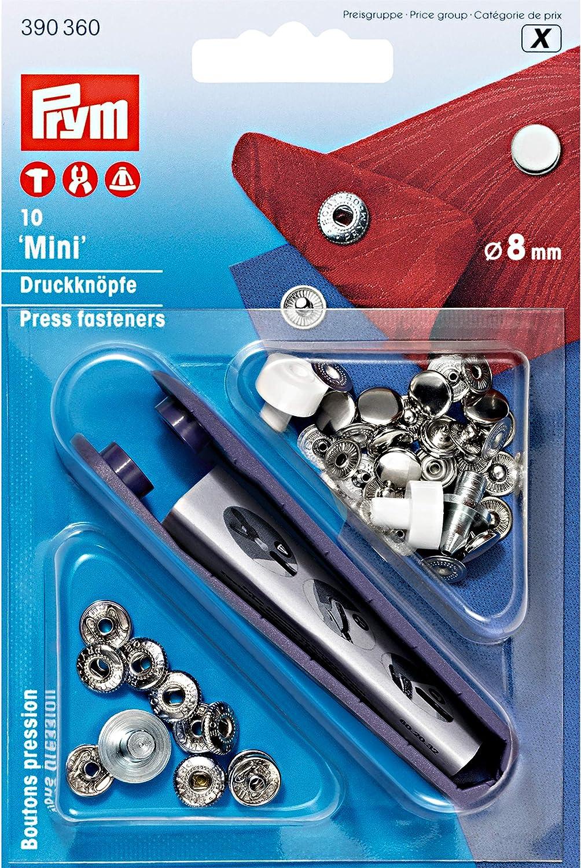 10 x /'Mini/' Non-Sew Fasteners 8mm Silver Colour PRYM #390360
