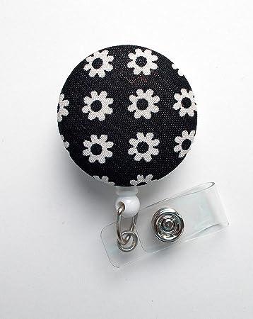 Button Reel Button Badge Reel Retractable badge Holder FLOWER Fabric Badge Reel