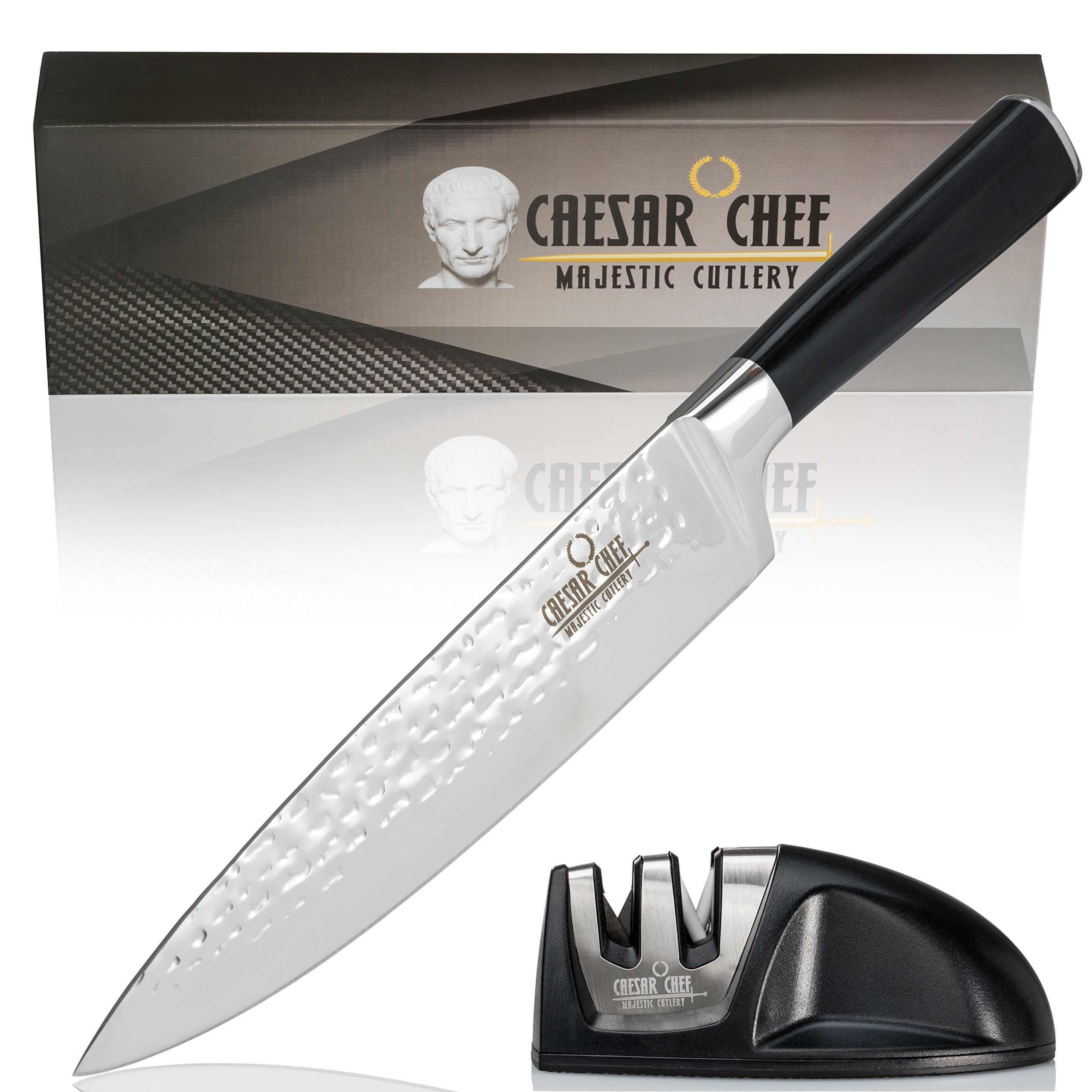 "Caesar Chef Professional Chef's Knife and Sharpener Set - Ultra Sharp 8"" High Carbon Stainless Steel Kitchen Knife with Ergonomic Handle will cut, slice, dice, chop and mince all foods with ease by"