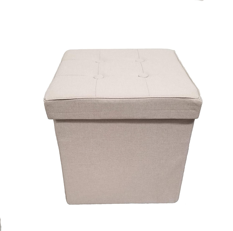 Fancy Linen Faux Linen Cream Foldable Storage Rectangle Ottoman Bench 2 Seats New