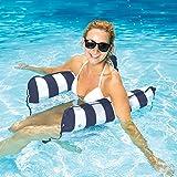 Aqua Monterey 4-in-1 Multi-Purpose Inflatable Hammock (Saddle, Lounge Chair, Hammock, Drifter) Portable Pool Float, Navy
