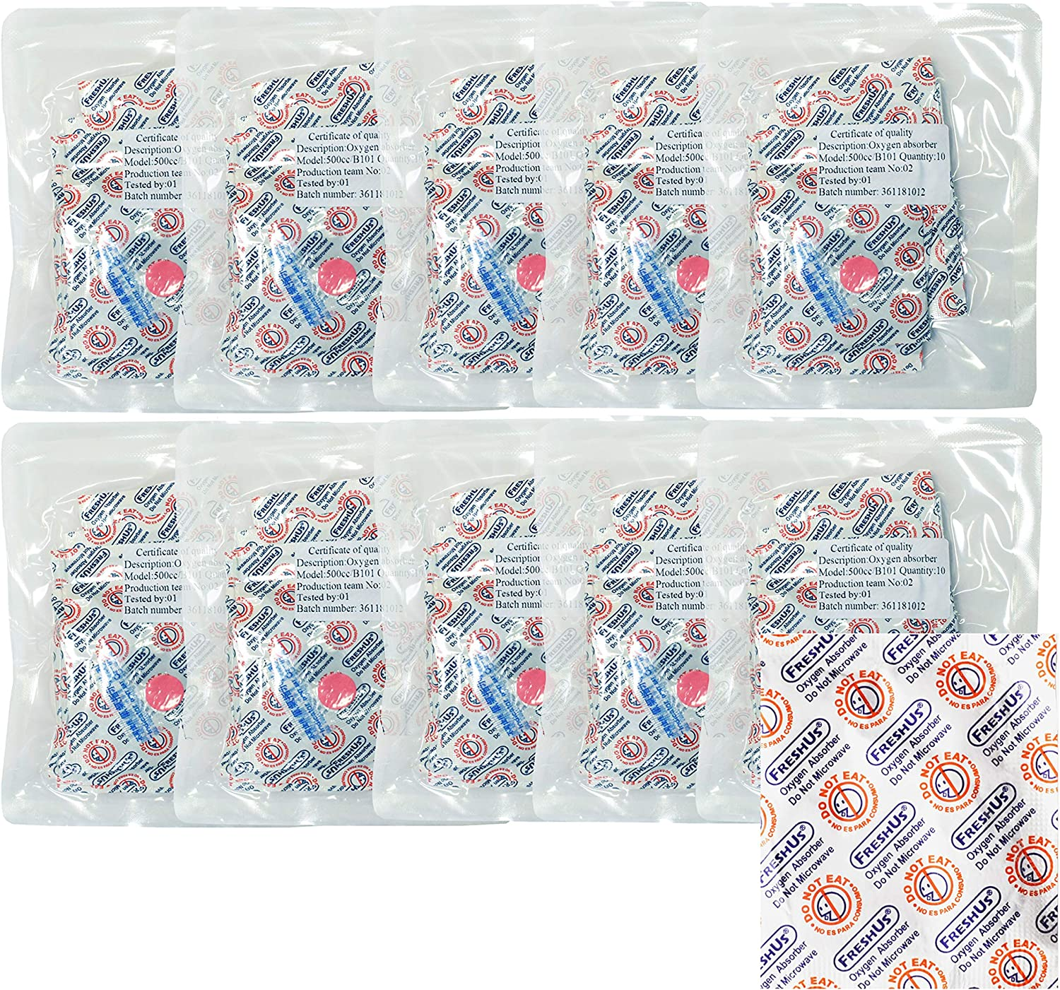 AwePackage 500cc Oxygen Absorber(10 Indiviual Packs of 10 Packets, Total 100 Packets) - Long Term Food Storage (100, 500 CC)