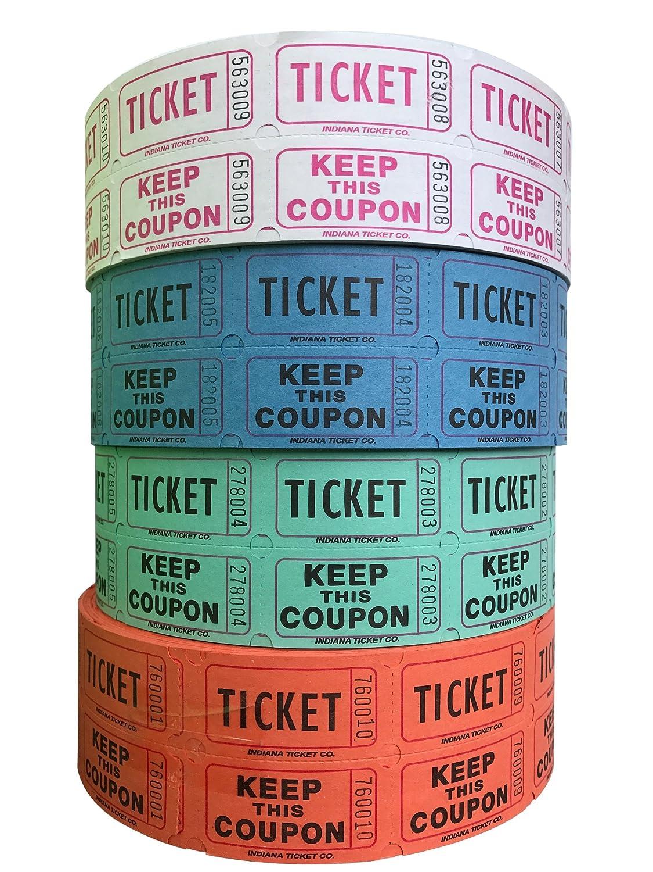 抽選券 - (2000枚のダブルチケットのロール4つ) 合計8000枚 50/50 の抽選券 (以下から色の組み合わせをお選びください) Raspberry/ Blue/ Orange/ Green B01HU2CJPY  Raspberry/ Blue/ Orange/ Green