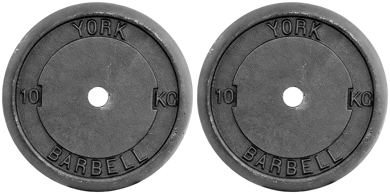 York Fitness Standard Cast Iron Discs   Matte Black, 2 X 10 Kg by Amazon