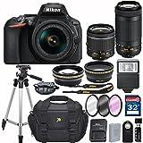Nikon D5600 DX-format Digital SLR w/ AF-P DX NIKKOR 18-55mm f/3.5-5.6G VR and 70-300mm F/4.5-5.6G DX Lens + 32GB Memory Accessory Bundle – International Version