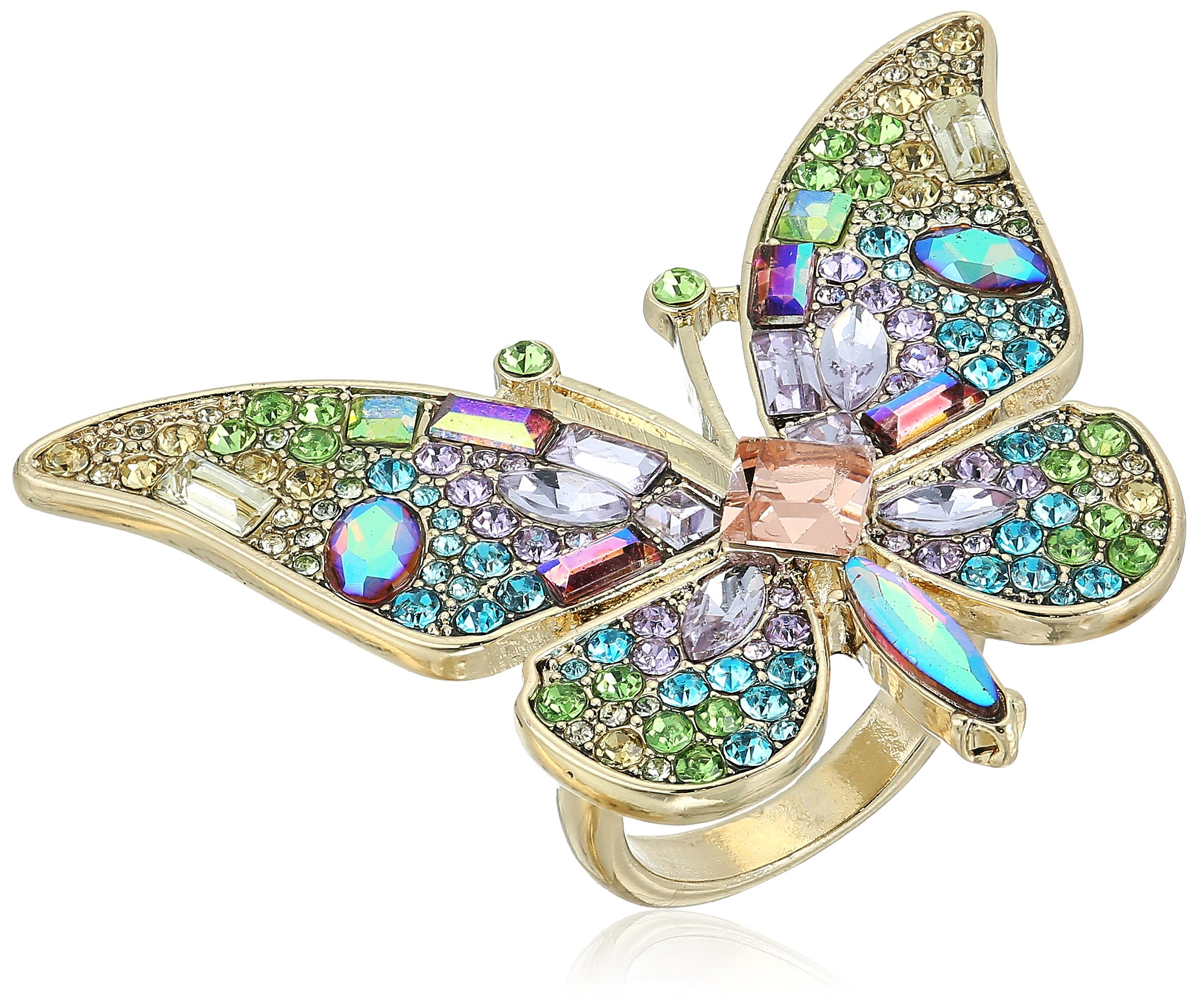 Betsey Johnson Womens Blooming Betsey Butterfly Statement Ring, Multi, One Size