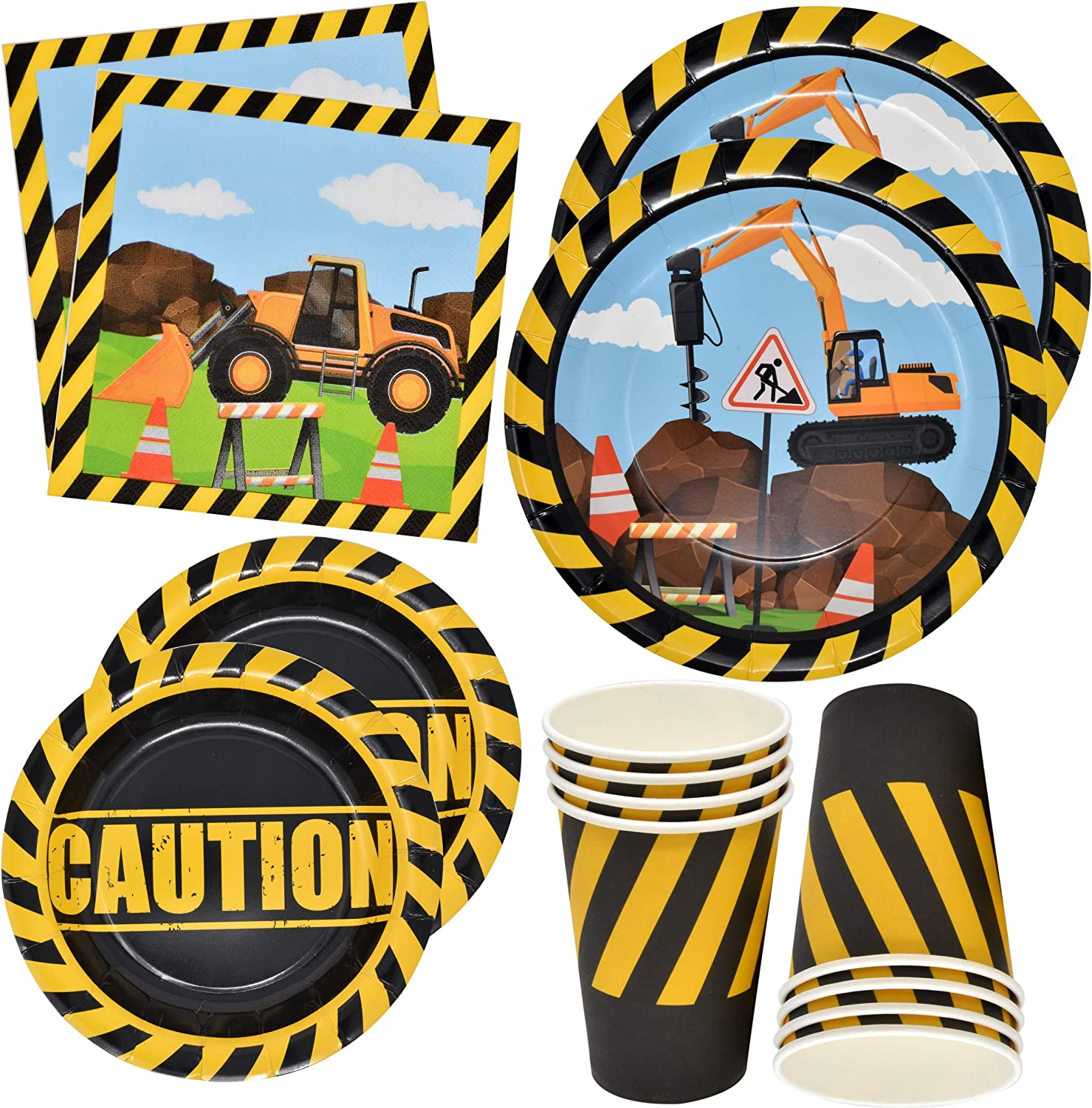 """Construction Themed Birthday Party Supplies Tableware Set 24 9"""" Paper Dinner Plates 24 7"""" Dessert Plate 24 9 Oz. Cups 50 Lunch Napkins Digger Truck Bulldozer Vehicle Construction Zone Site Decorations"""