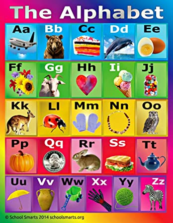 Amazon School Smarts ABC Alphabet Poster Fully Laminated Durable Material Rolled And SEALED In Plastic Sleeve For Protection