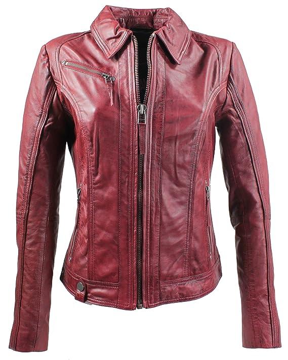RICANO Sabra, Slim Fit Damen Lederjacke aus Lamm Nappa Echt Leder in Schwarz oder Rot