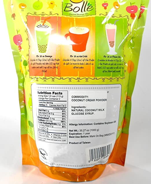 Amazon.com : BOLLE Boba Bubble Tea Smoothie Powder Mix Drinks (Coconut) : Grocery & Gourmet Food