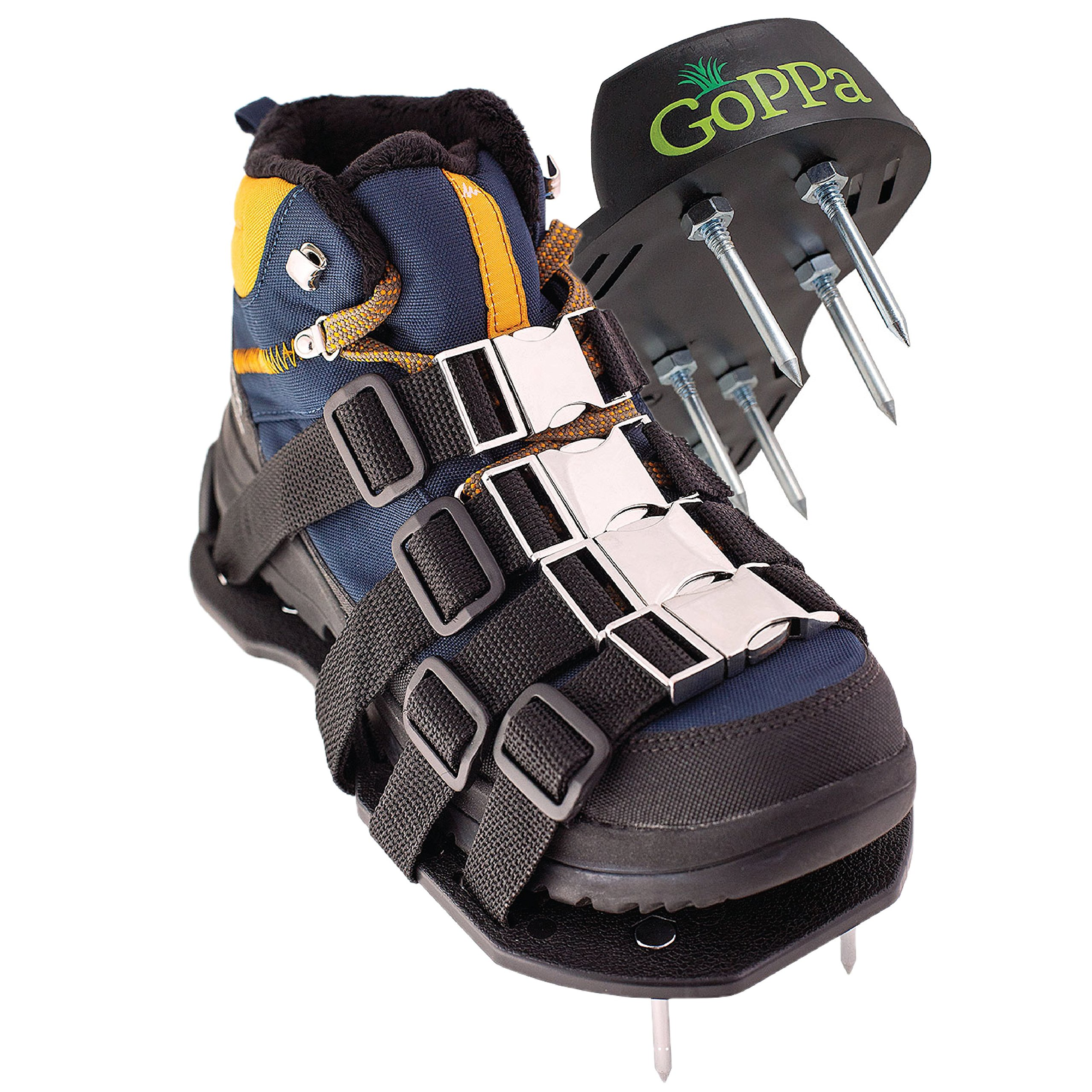GoPPa Lawn Aerator Shoes - Strong - Fully Assembled Lawn Sandal, You only FIT Once on Your Gardening Shoes. Ready for aerating Your Yard, Lawn, Roots & Grass
