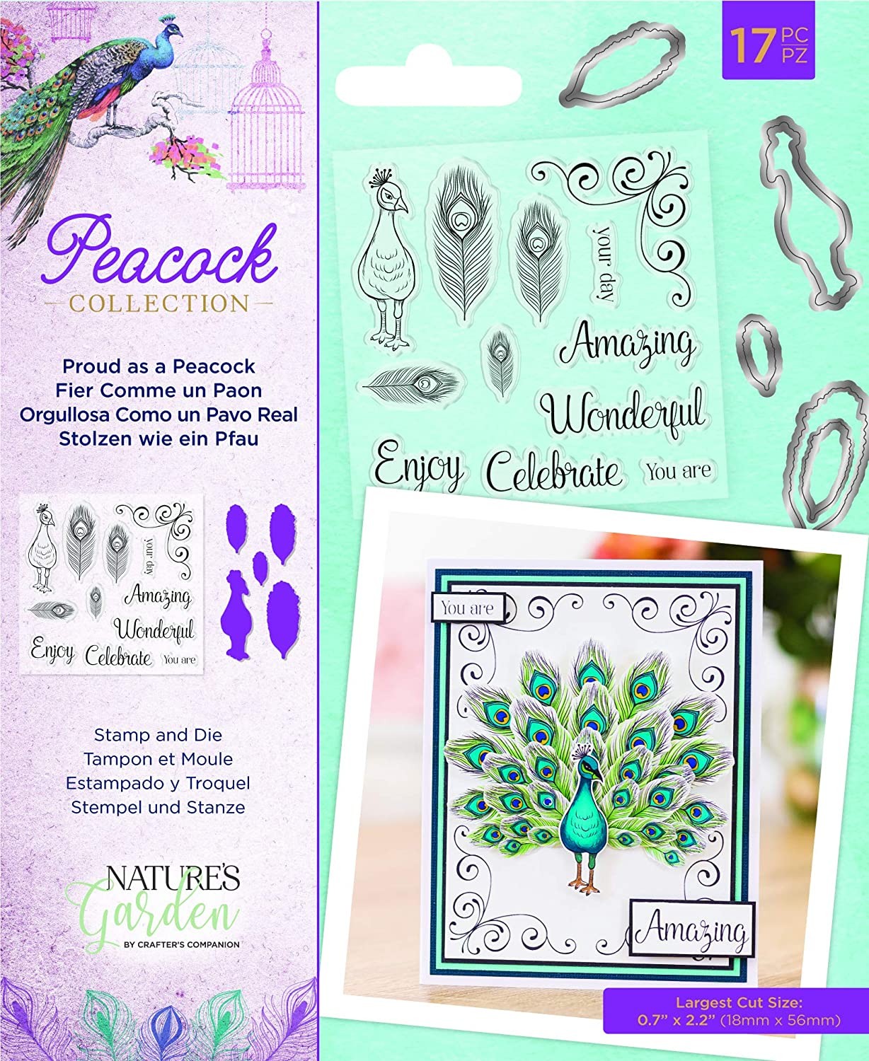Nature's Garden NG-Pea-STD-Pap Collection-Stamp & Die-Proud as a Peacock, Silver