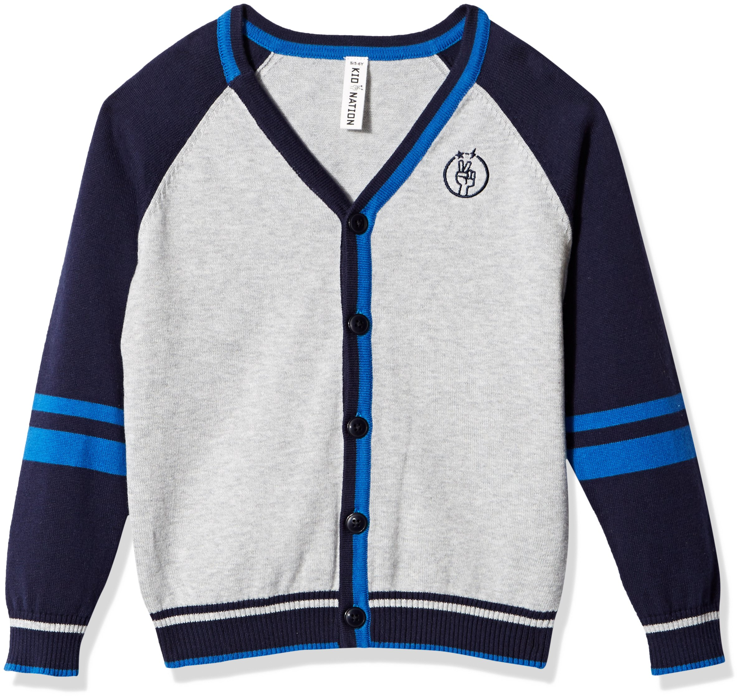 Kid Nation Boys' V-Neck Color Block Cardigan Sweater With Stripes XL(10-12) Gray