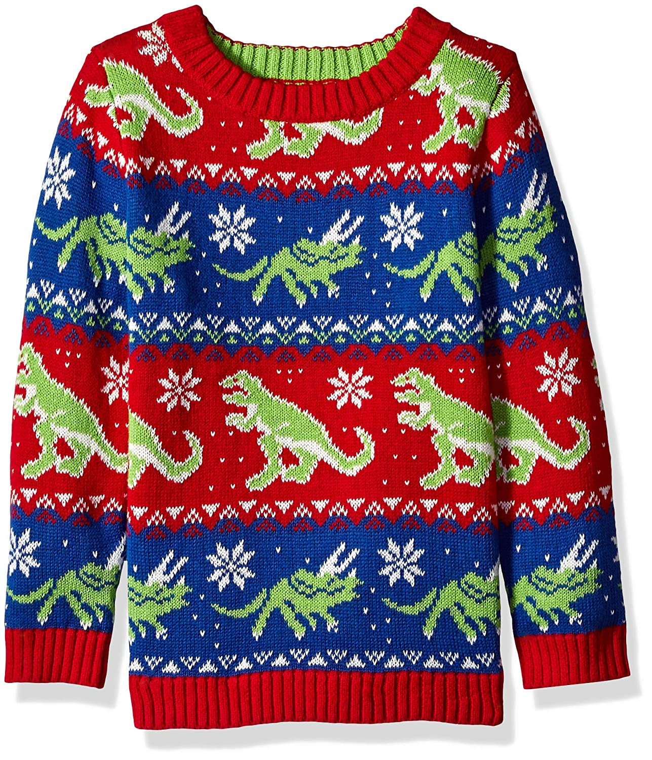 Blizzard Bay Boys Dinosaur Fairisle Ugly Christmas Crew