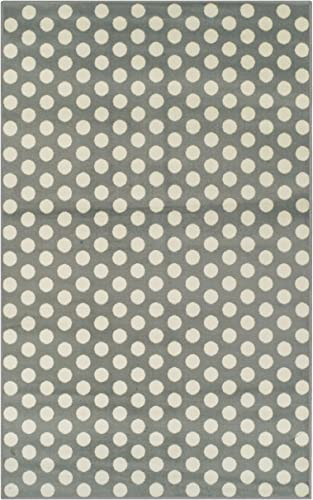 SUPERIOR Designer Dot Yellow and Grey Area Rug 5' x 8'