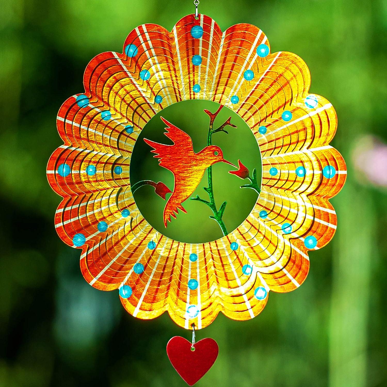 SteadyDoggie Wind Spinner Lovebird 12 inches – 3D Stainless Steel –Hummingbird – Laser Cut Metal Art Geometric Pattern - Hanging Wind Spinner, Kinetic Yard Art Decorations - Indoor/Outdoor Decor