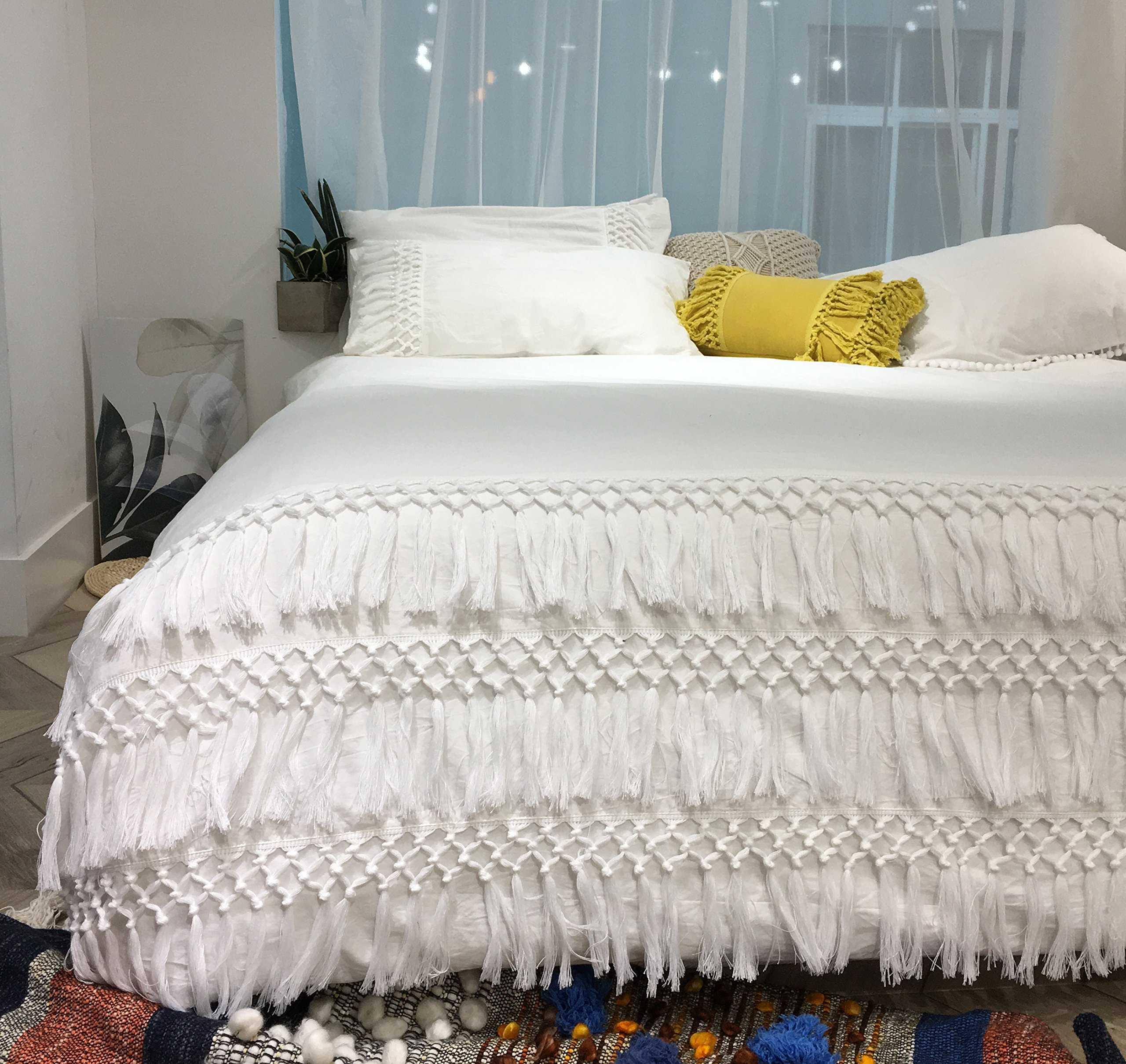 White Cotton Tassel Duvet Coverfull Queen86inx90in 614405053419 Ebay