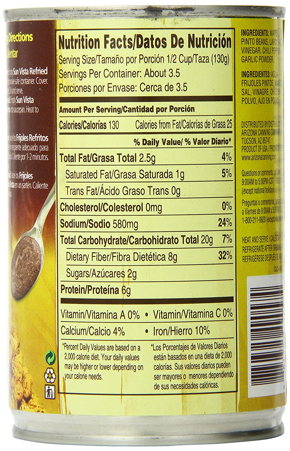 Amazon.com : Sun Vista Pinto Beans, Refried, 16 Ounce (Pack of 12) : Grocery & Gourmet Food