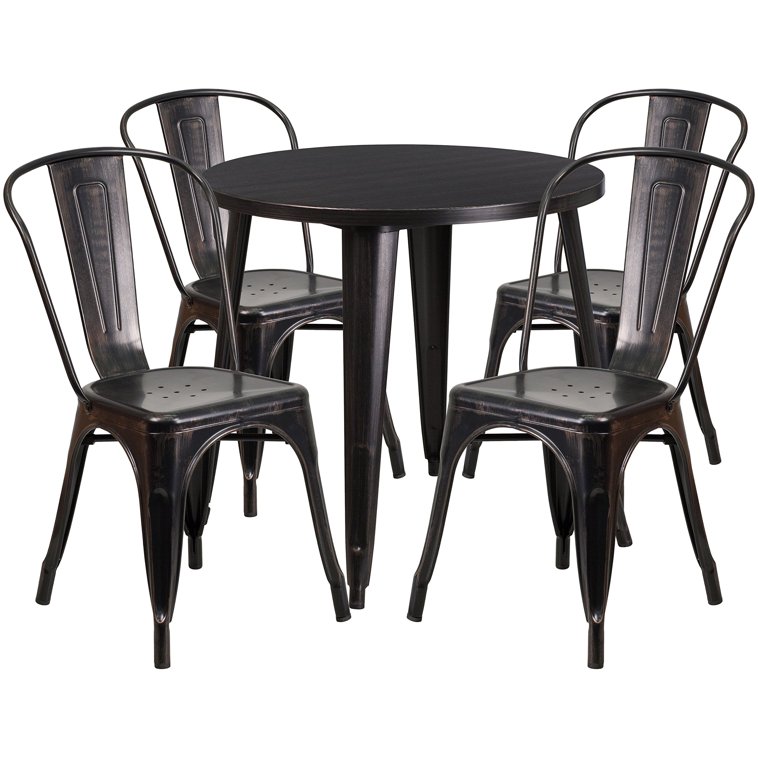 Flash Furniture 30'' Round Black-Antique Gold Metal Indoor-Outdoor Table Set with 4 Cafe Chairs