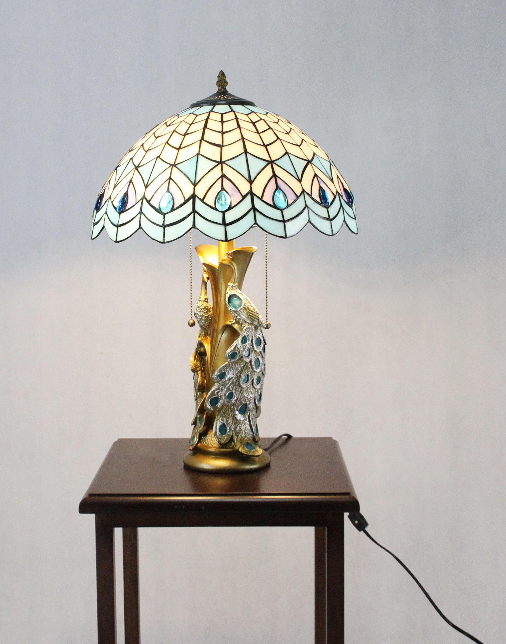 FixtureDisplays Tiffany Style Peacock 2 Lights Desktop Lamp 16-Inch Shade15720 by FixtureDisplays