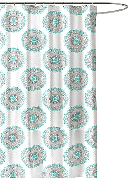Image Unavailable Not Available For Color Turquoise Green Grey Fabric Shower Curtain