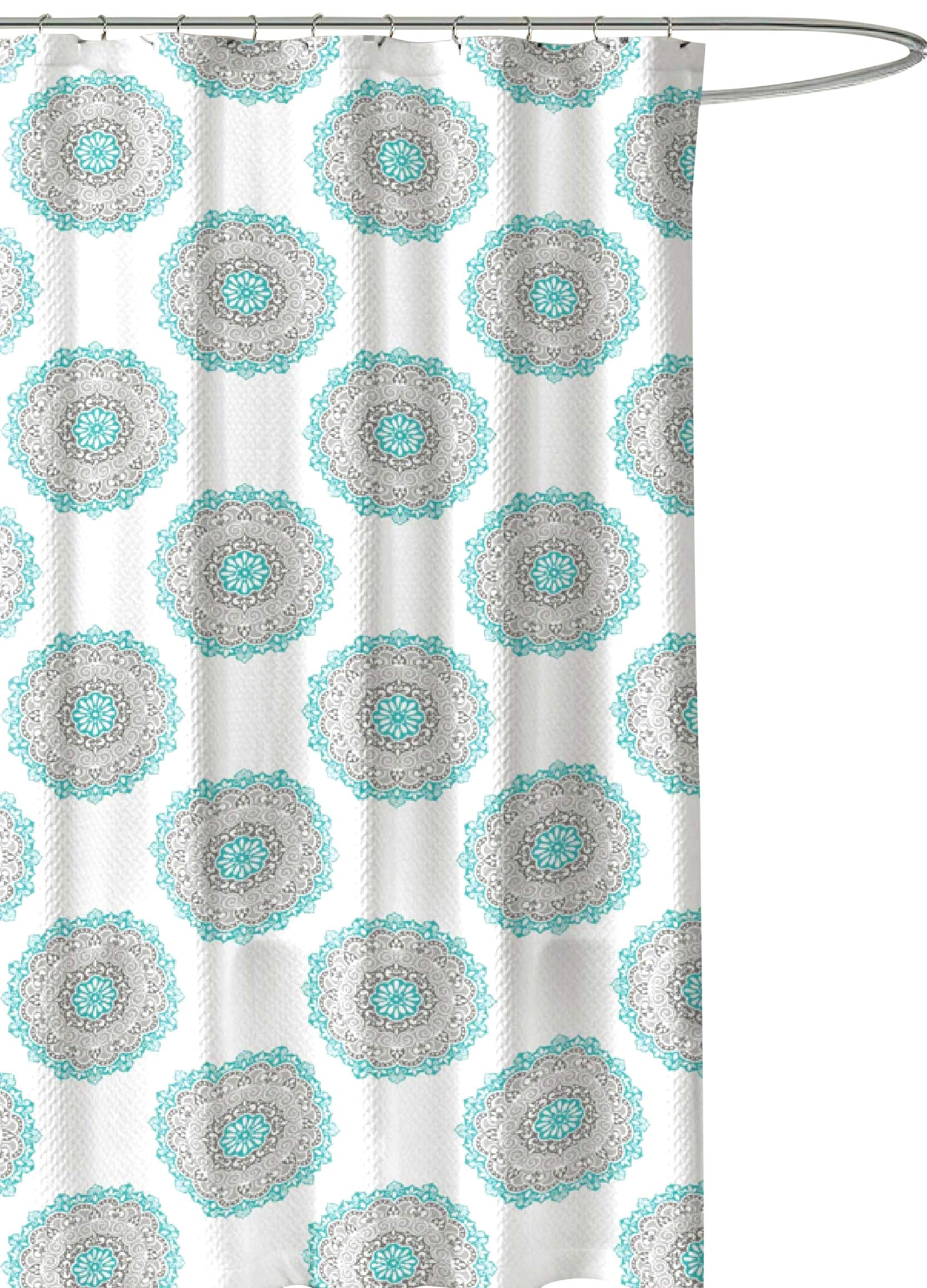 C.H.D Home Bathroom Fabric Shower Curtain: Aqua Mint Medallion Circle Design (White) - For Damask Designs, these shower curtains make an attractive choice. Universal appeal for men or women. It will match well with various color palates of towels, rugs, bathroom mats and any other bathroom accessories to create mini bathroom makeover. Material: 100% Polyester cloth. Polyester is naturally mold and mildew resistant making it a premium choice for bath tub curtains. - shower-curtains, bathroom-linens, bathroom - 914xurhDLEL -