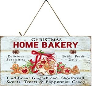Twisted R Design Farmhouse Christmas Decor Hanging Wood Wall Sign (Christmas Home Bakery)