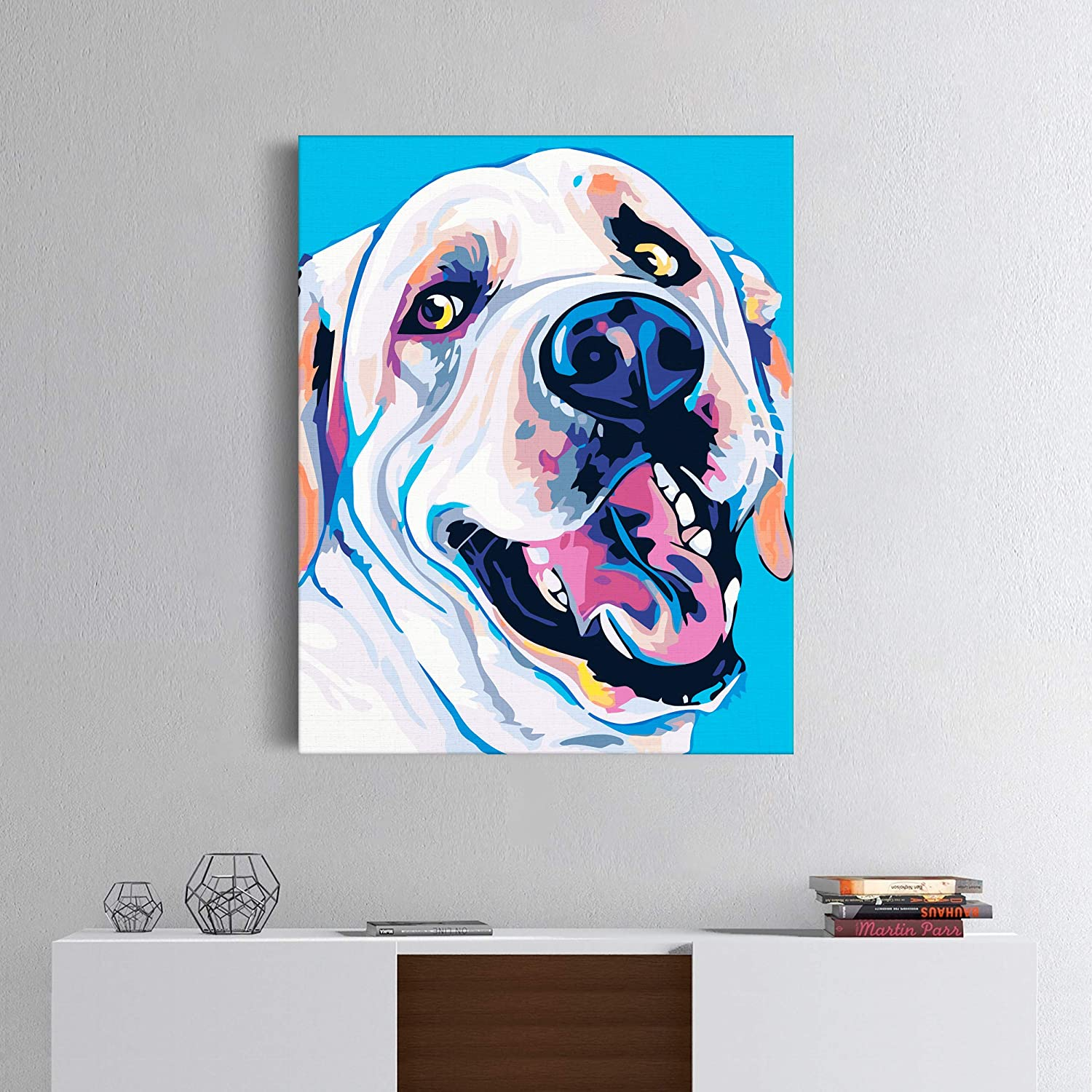 Cute Dog Canvas Painting Art Design Picture DIY Canvas Animal Print Painting Number Kit Acrylic Animals Painting Home Decor High-Quality Picture