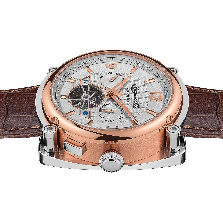 Ingersoll Herr Michigan automatisk klocka med brun urtavla och brunt läderrem I01103 Vitt