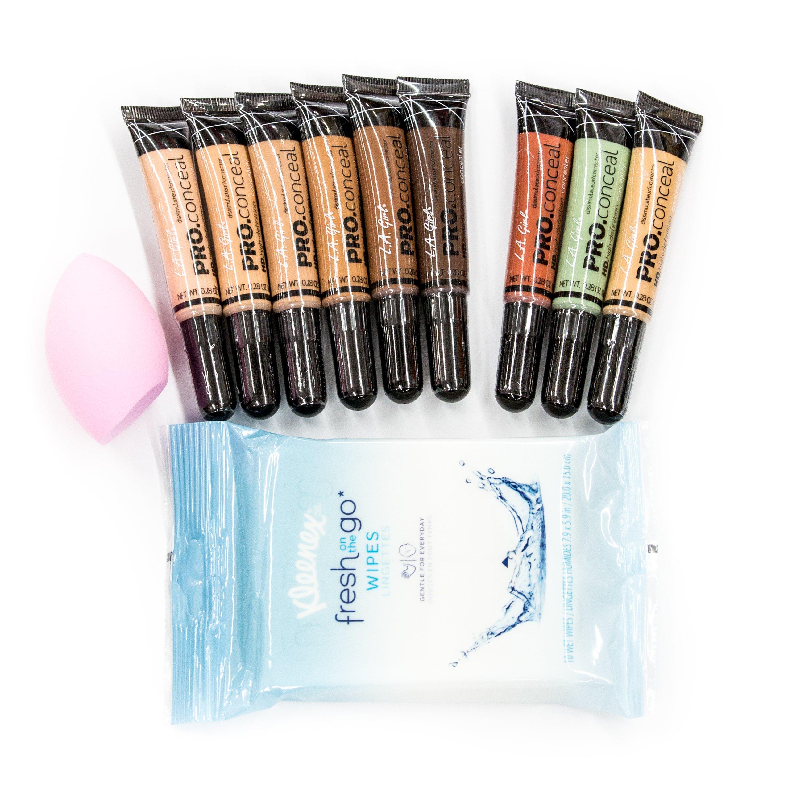 La Girl Pro Conceal HD Make-Up Artist Concealer Start-Up Bundle Kit (Total 11 items)