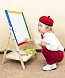 Wooden Easel Art Station Double Sided Folding Blackboard, Whiteboard. Educational & Learning Experience Tool for Toddlers