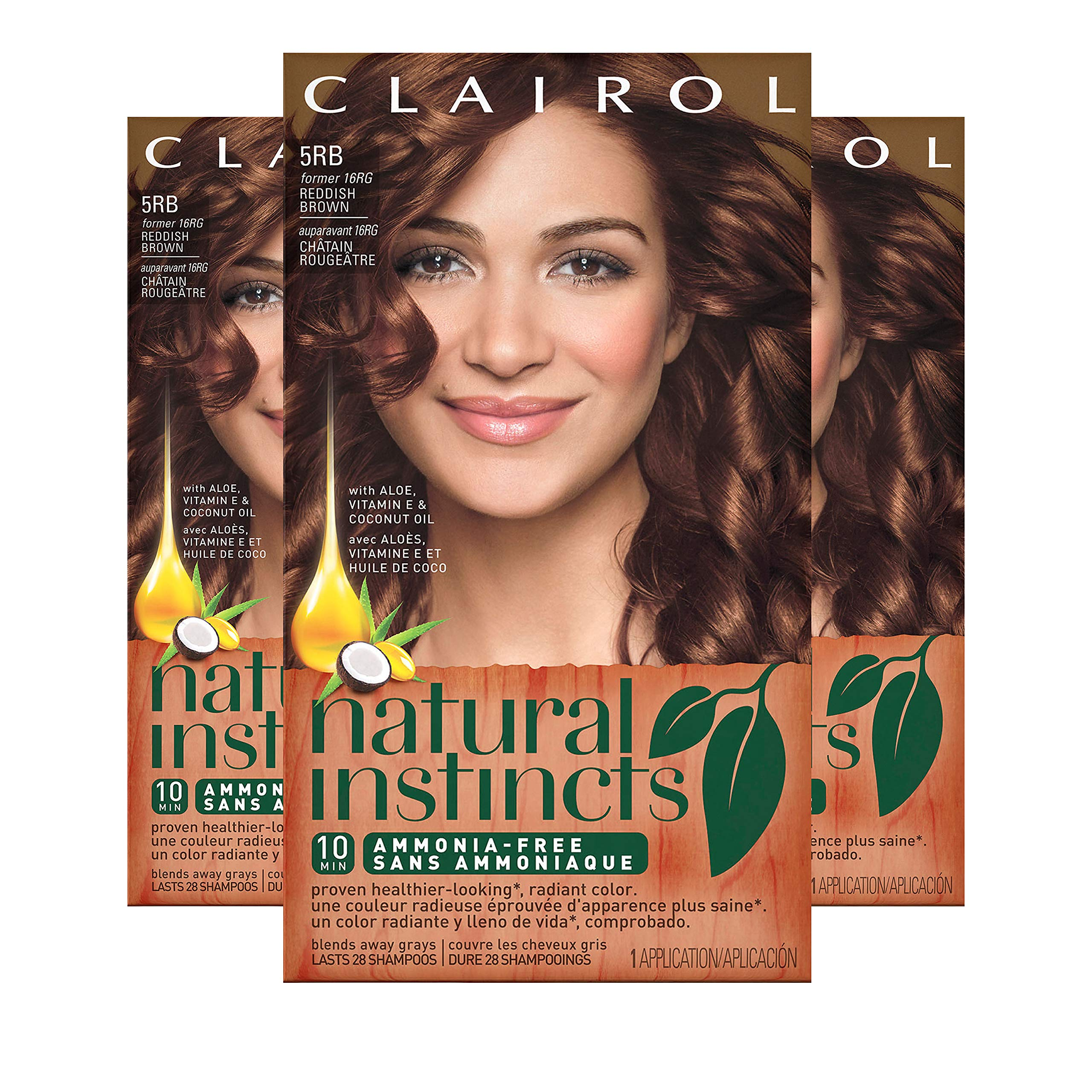 Clairol Natural Instincts Hair Color, Shade 5rb/16rg Sedona Sunset Reddish Brown, 3 Count