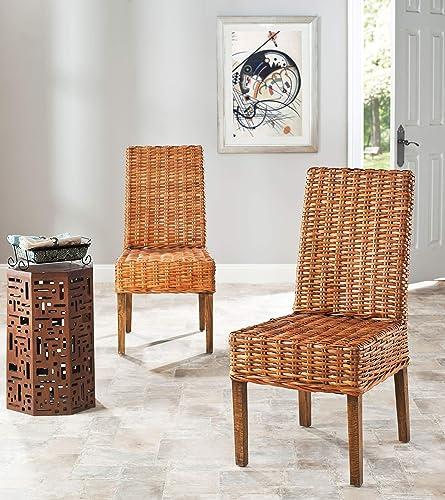 Safavieh Home Collection Aubrey Honey Oak Wicker Side Chair